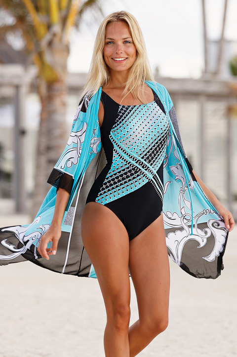 Turquoise Geometric Matching Kaftan by Sunflair (3182)