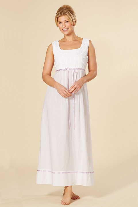 100% Cotton Full Length Nightdress with Lavender Trim (CB01)