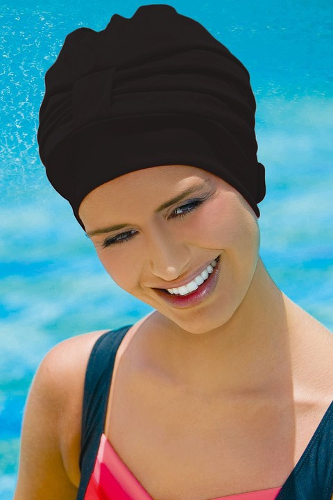 Adjustable Swim Hat ~ Black (3473)